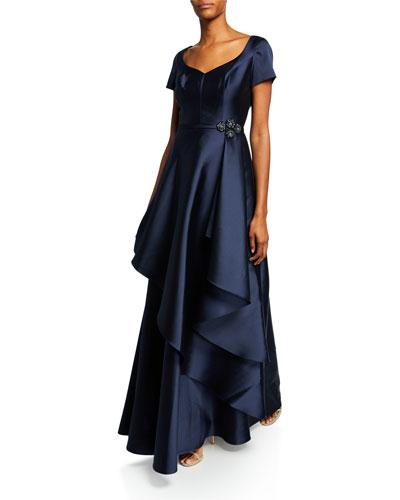 Cap-Sleeve Gazar Gown w/ Asymmetric Overlay & Beaded Trim