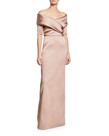 Image 1 of 1: Off-the-Shoulder Elbow-Sleeve Mikado Column Gown
