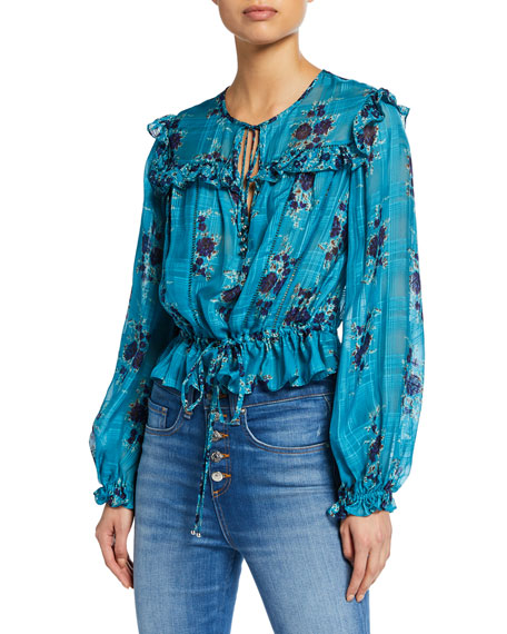 Image 1 of 1: Kelly Floral-Print Long-Sleeve Ruffle Blouse