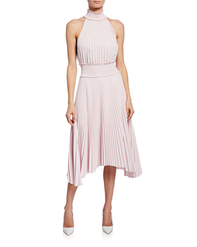 Renzo B High-Neck Pleated Midi Dress