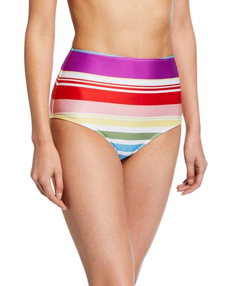 Striped High-Waist Bikini Bottoms