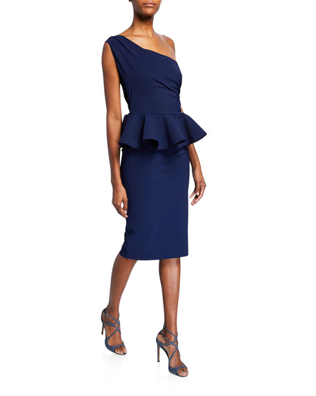 Okoye One-Shoulder Sleeveless Peplum Cocktail Dress