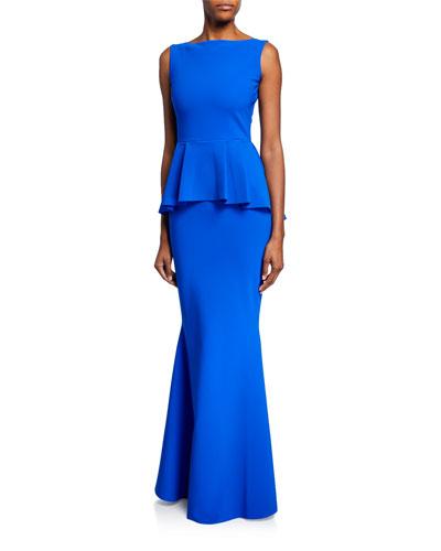 Rowan Sleeveless Peplum-Waist Mermaid Gown