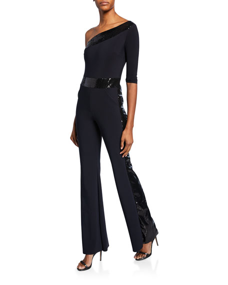Image 1 of 1: Unimarge One-Shoulder Flared-Leg Jumpsuit