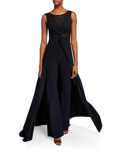 Allyette Mesh Illusion Sleeveless Jumpsuit w/ Overskirt