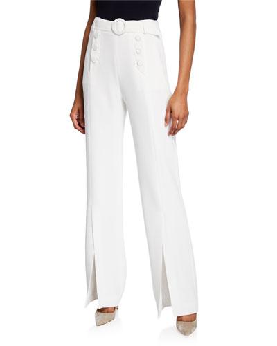 Pleated Crepe Split Sailor Pants