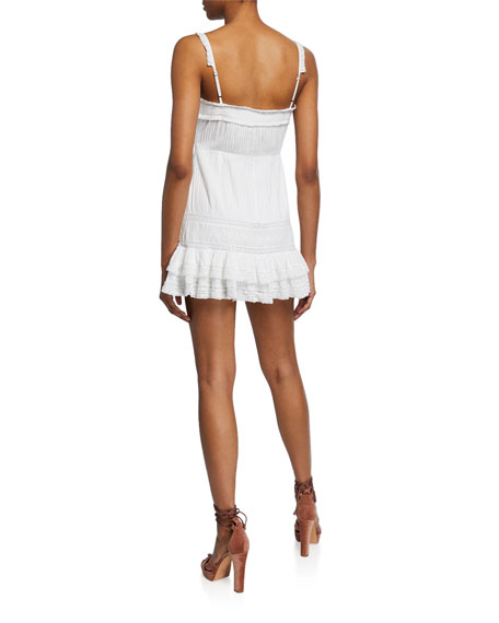 Tallulah Spaghetti-Strap Mini Dress w/ Lace & Pintuck Detail