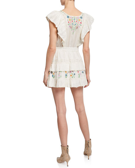 Romy Embroidered Lace-Trim Mini Dress