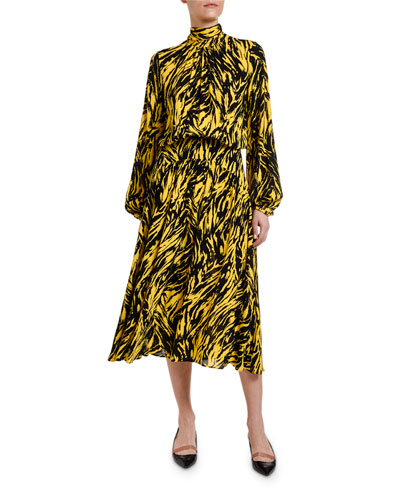 Animal-Print High-Neck Blouson-Sleeve Midi Dress