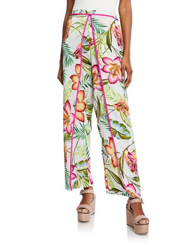Surfline Floral-Print Split Wide-Leg Pants