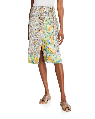 Eve Sequined Printed Wrap Skirt