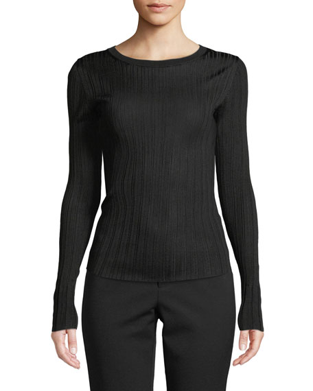 Ribbed Viscose Long-Sleeve Crewneck Sweater Top