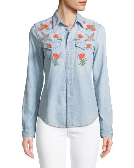Mother T-shirts ALL MY EXES BUTTON-DOWN DENIM SHIRT