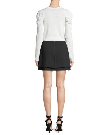 Lidia Crewneck Gathered-Sleeve Stretch-Wool Top