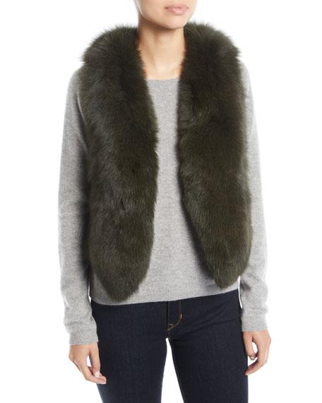 Short Fur Vest w/ Cutout Back