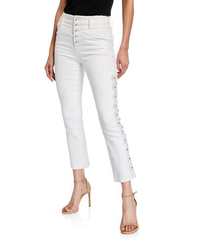 Applique E-Cig Button-Fly Jeans