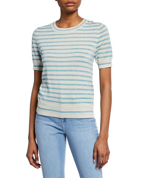 Metallic Stripe Crewneck Short-Sleeve Top