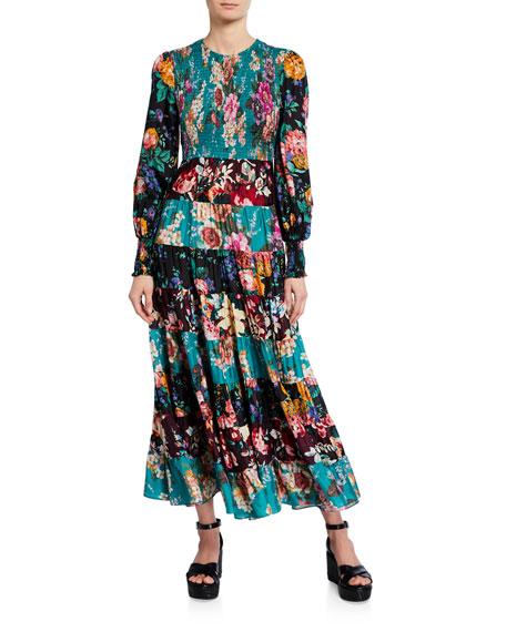 Allia Tiered Long-Sleeve Maxi Dress