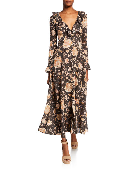 Image 1 of 1: Veneto Floral Frill-Trim Maxi Dress