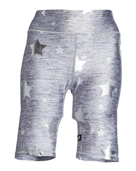 Stars Foil-Print Heathered Balayage Biker Shorts