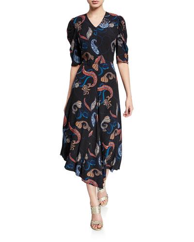 Paisley-Print Short-Sleeve Asymmetrical Midi Dress