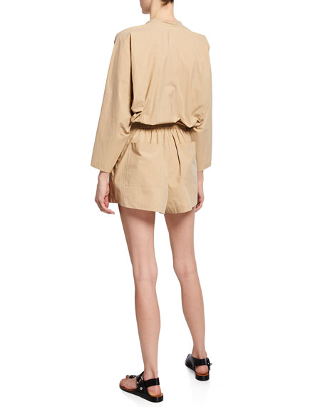 Penelope Button-Front Long-Sleeve Belted Romper