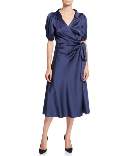 Valentina Satin Midi Wrap Dress