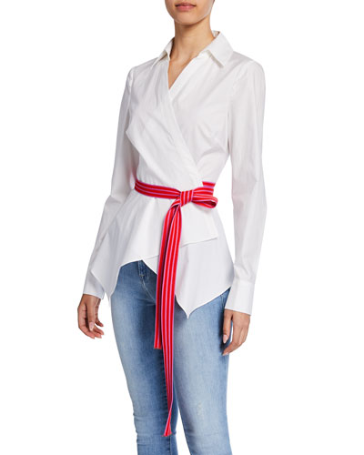 Leah Belted Long-Sleeve Wrap Blouse