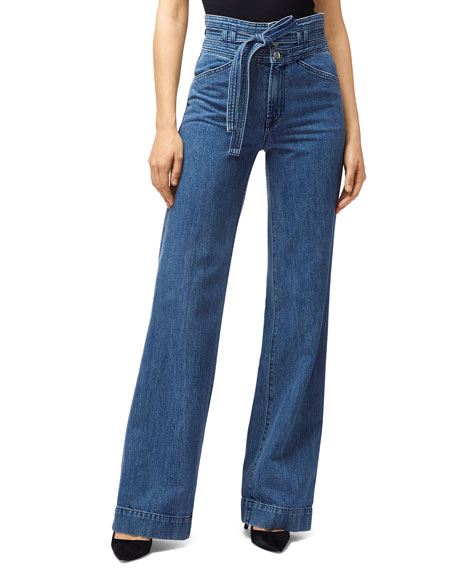 J Brand Pants SUKEY BELTED HIGH-WAIST DENIM PANTS