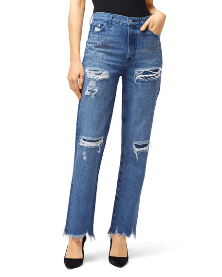 J Brand Jeans JULES HIGH-RISE STRAIGHT-LEG JEANS WITH RHINESTONES
