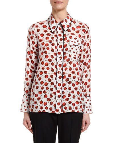 Printed Long-Sleeve Blouse with Embellished Collar