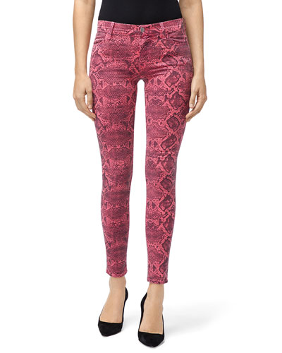 d590a0c0db85 Mid-Rise Super Skinny Snake-Print Jeans Quick Look. J Brand