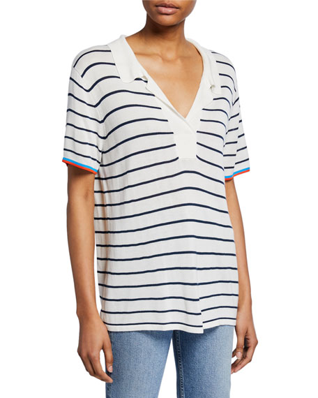 Striped V-Neck Short-Sleeve Top