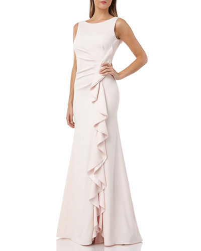 Bateau-Neck Sleeveless Gown w/ Side-Ruching & Draped Ruffle Detail