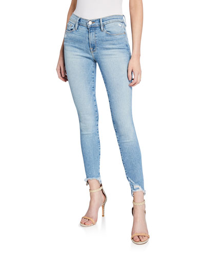 Le Skinny De Jeanne High-Rise Jeans with Shredded Hem