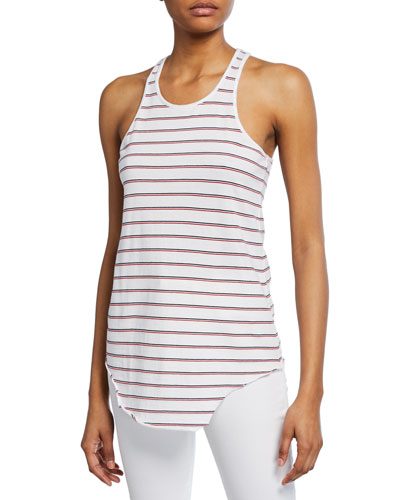 Base Layer Stripe Scoop-Neck Cotton Essential Jersey Tank