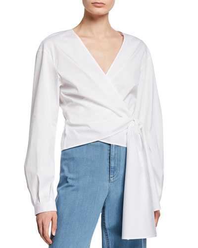 Basilla Italian Stretch-Cotton Wrap Blouse