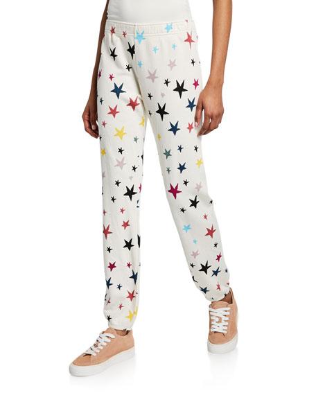 Monrow Pants STARS-PRINTED ELASTIC-WAIST SWEATPANTS