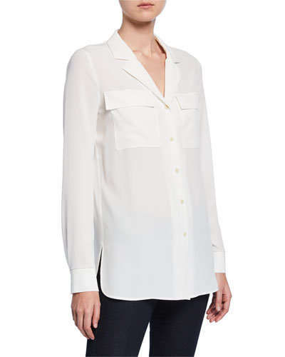 Maximina Sandwashed Button-Down Blouse with Notch Collar
