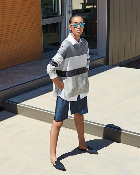 Chain Embellished Colorblock Boat-Neck Sweater