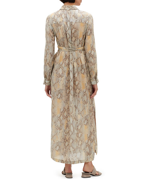 Doha Sindewinder Snake-Print Long-Sleeve Belted Dress