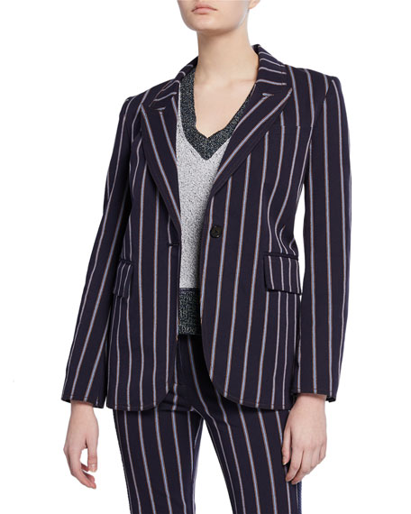 Striped One-Button Stretch-Cotton Blazer