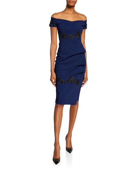 Thira Off-the-Shoulder Cap-Sleeve Cocktail Dress