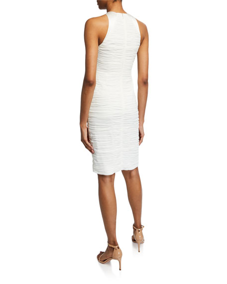 Sleeveless High-Neck Fitted Ruched Dress