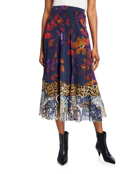 Patchwork A-line Midi Skirt