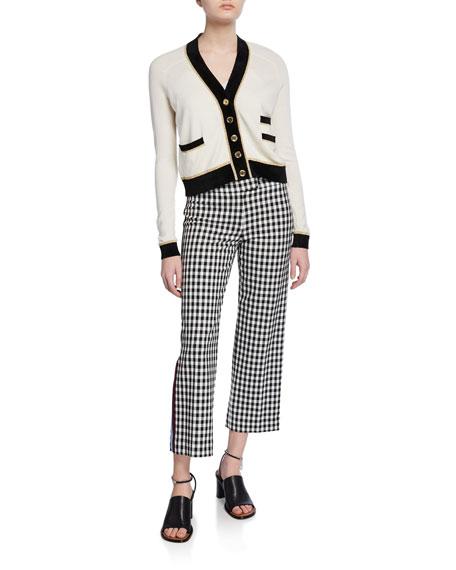 Straight-Leg Trousers with Tuxedo Stripes