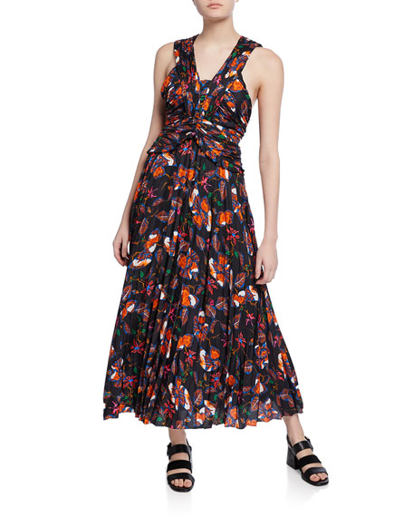 Ruched Pleated Cotton-Silk Maxi Dress