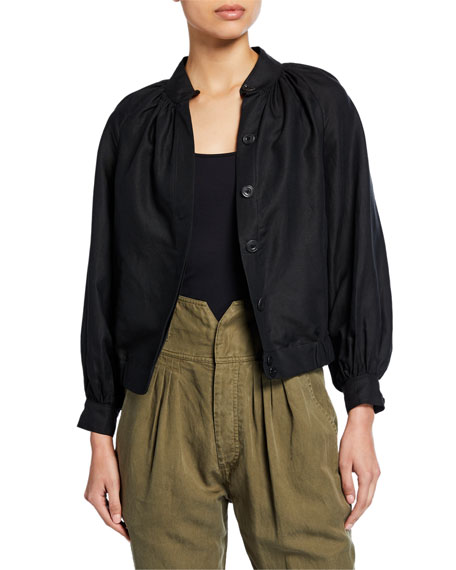 Shirred Raglan Linen Bomber Jacket