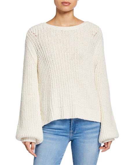 Blouson-Sleeve Swing Sweater