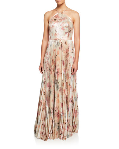852fa305 Floral Lame Halter Gown with Pleated Skirt Quick Look. Marchesa Notte